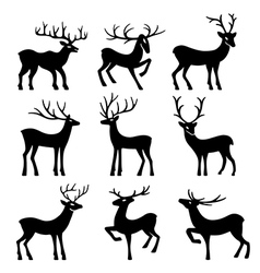 Nine black deer set silhouettes vector