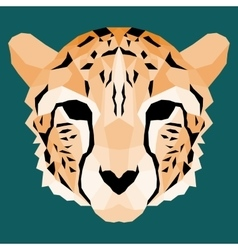 Orange low poly cheetah vector image