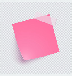 Pink note paper and adhesive tape with shadow vector