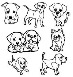 puppy coloring book set vector image vector image