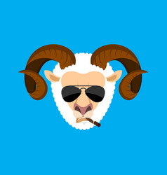 Ram cool serious avatar of emotions sheep smoking vector
