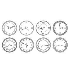 Retro clock face antique elegant dial with vector
