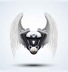 retro motorcycle engine with White folded wings vector image