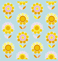 Retro naive flower summer color seamless pattern vector