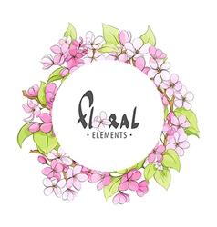 Round frame of fragrant flowers vector
