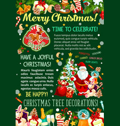 Santa with christmas tree and gift greeting banner vector