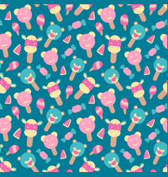 seamless summer pattern with ice cream element vector image