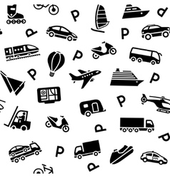 seamless transport icons vector image