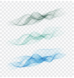set abstract color smoke wave transparent smooth vector image