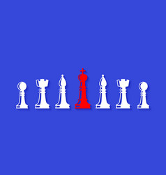 set of chess figures leadership concept vector image