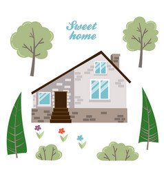 set of isolated houses trees and plants vector image