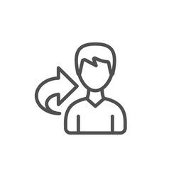 Share refer line icon user or businessman person vector