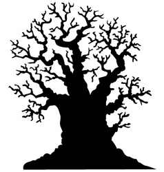 Silhouette of leafless oak tree vector