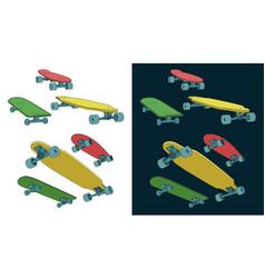 skateboards set vector image