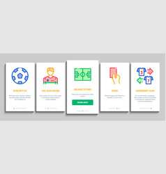 Soccer football game onboarding elements icons set vector