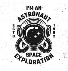 Space exploration emblem or apparel design vector