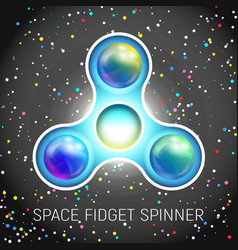 Space fidget spinner toy with three blades vector