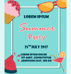summer holiday vacation party poster flat vector image