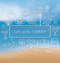 Summer Objects Linear Icons Set on Blur Background vector image
