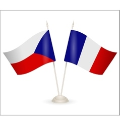 Table stand with flags of France and Czech vector image vector image