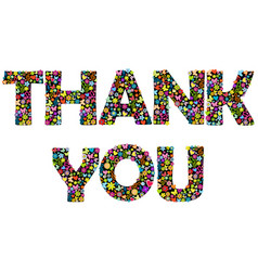 thank you banner with floral letters vector image