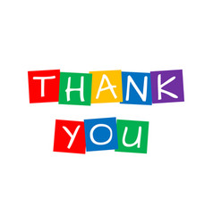 Thank you letters in squares with vibrant colors vector
