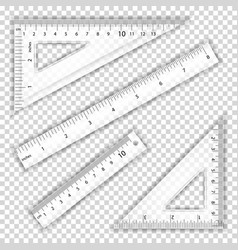 transparent ruler and triangles centimeter vector image
