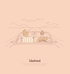 traveling together car couple on road trip vector image