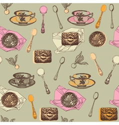 Vintage Afternoon Tea Pattern vector image