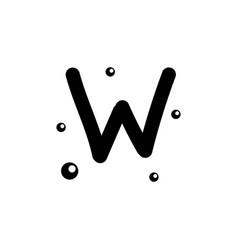 W hand drawn alphabet design template vector