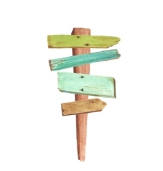Watercolor wooden signpost vector image