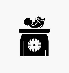 Weight baby new born scales kid glyph icon vector