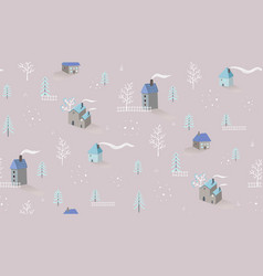 winter holiday village houses seamless pattern vector image