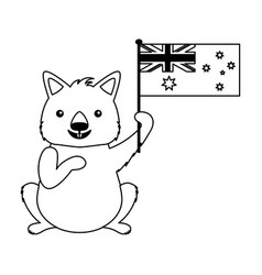 wombat with hat australian flag celebration vector image