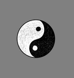 Ying yang symbol hand sketch vector