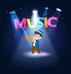 young man playing trombone at the stage vector image