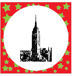 black 8-bit empire state building vector image vector image