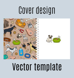 Cover design with cute dogs pattern vector