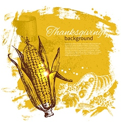 Hand drawn vintage Thanksgiving Day background vector image vector image