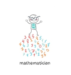 mathematician is on the numbers vector image vector image