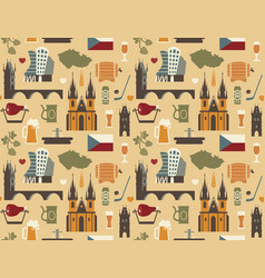 pattern with symbols of the czech republic vector image vector image