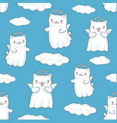 seamless pattern background with clouds cartoon vector image vector image