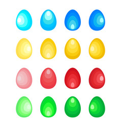 set of stylized easter eggs made of concentric vector image vector image