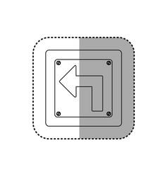 sticker silhouette metallic square frame turn left vector image vector image