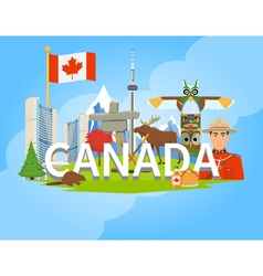Canadian National Symbols Composition Flat POster vector image vector image