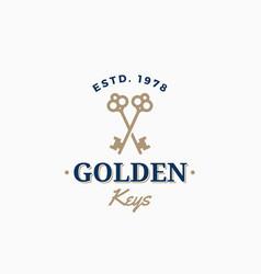 golden keys retro abstract sign symbol or vector image vector image
