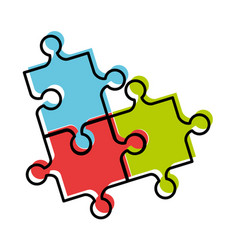 puzzle pieces isolated icon vector image vector image
