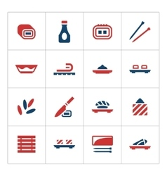 Set color icons of sushi vector image