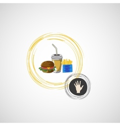 set of fast food drink burger fries vector image vector image