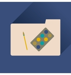 Flat icon with long shadow brush palette folder vector